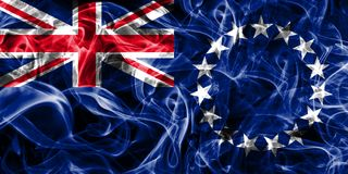 Cook Islands smoke flag, New Zaeland dependent territory flag.  Royalty Free Stock Images