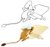 Cook jerboa unrolls dough. Color and outline illustration Stock Photography