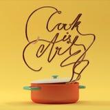 Cook jest sztuki wycena z garnka nowożytnym 3D renderingiem Zdjęcie Royalty Free