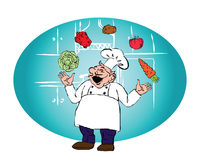 The cook with juggling with vegetables Stock Photo