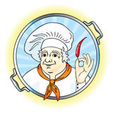Cook keeps the pepper and looks into the pot. Vector illustration Stock Illustration