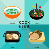 COOK KING FOUR. 4 of cooking process with different cooking techniques Stock Image