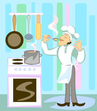 Cook in the kitchen Royalty Free Stock Photos