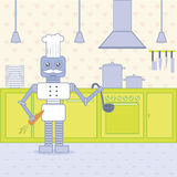Cook in the kitchen. Robot cook standing in the bright kitchen Stock Photography