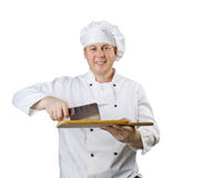 Cook with a knife Stock Photography