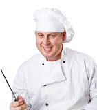 Cook with a knife Royalty Free Stock Photos