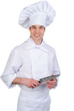 Cook with knife Stock Image