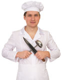 Cook with the knife and the ladle Stock Image