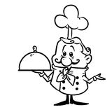 Cook little character doodle contour Stock Photography
