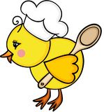 Cook little chick with wooden spoon Stock Photography