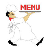 Cook. Logo of the cook or the picture for the menu. the cook goes with a dish Stock Photo