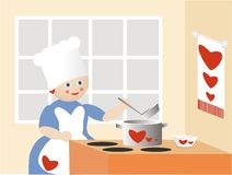 The cook of love. The cook prepares to eat on kitchen Royalty Free Stock Image