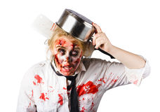 Zombie woman with kettle on her head Stock Image