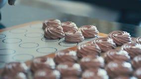 Cook makes zephyr in kitchen in bakeshop indoors. stock video