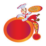 Cook male pizzey sits advertises pizza Stock Image