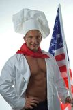 Cook man in the background of the American flag royalty free stock image
