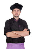 Cook man with black uniform Stock Images
