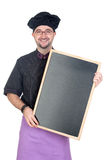Cook man with black uniform and blackboard Stock Images