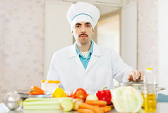 Cook man cooking vegetarian lunch Stock Image