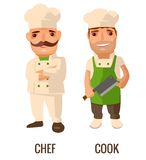 Cook man with knife. Proud chef cook man with a mustache crossed his arms. Vector flat illustration isolated on white Royalty Free Stock Image
