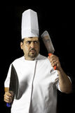 Cook man with knifes Royalty Free Stock Photos