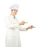 Cook man is pointing Royalty Free Stock Photo