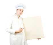 Cook man  pointing at blank canvas Royalty Free Stock Images