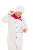 Cook man wearing uniform screams Royalty Free Stock Photography