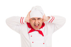 Cook man wearing uniform screams Stock Image