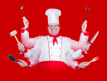 Cook with many hands. Happy cook with many hands on red background Royalty Free Stock Image