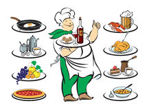 Cook meals with different. Cook with a tray and eight  of dishes Stock Photo