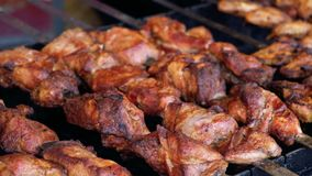 Cook meat on the grill, barbecue stock footage