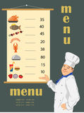 Cook and menu. On the grey background Stock Photo