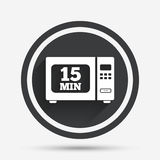 Cook in microwave oven sign icon. Electric stove. Cook in microwave oven sign icon. Heat 15 minutes. Kitchen electric stove symbol. Circle flat button with Royalty Free Stock Photography