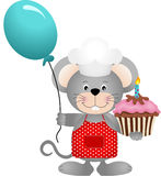 Cook mouse with balloon and birthday cake Royalty Free Stock Photo