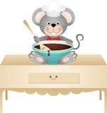 Cook mouse with bowl of chocolate Stock Images