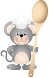 Cook mouse with wooden spoon Royalty Free Stock Photo