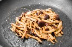 Cook mushrooms pan Stock Images