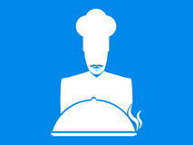 Cook. Mustachioed chef with a dish icon on a blue background. Vector Royalty Free Stock Photos