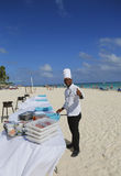 Cook from Now Larimar All-inclusive Hotel getting ready to serve food at the beach in Punta Cana Royalty Free Stock Photography