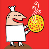 Cook offers a smoky pizza Royalty Free Stock Photo