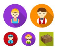Cook, operator, fireman, artist.Profession set collection icons in flat style vector symbol stock illustration web. Cook, operator, fireman, artist.Profession Stock Image