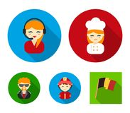 Cook, operator, fireman, artist.Profession set collection icons in flat style vector symbol stock illustration web. Cook, operator, fireman, artist.Profession Stock Photos