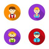 Cook, operator, fireman, artist.Profession set collection icons in flat style vector symbol stock illustration web. Royalty Free Stock Photography