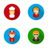 Cook, operator, fireman, artist.Profession set collection icons in flat style vector symbol stock illustration web. Royalty Free Stock Image
