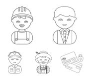Cook, operator, fireman, artist.Profession set collection icons in outline style vector symbol stock illustration web. Cook, operator, fireman, artist Stock Image