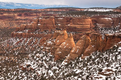 Cook Ovens sandstone formations in Colorado National Monument Stock Images