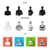 Cook, painter, teacher, locksmith mechanic.Profession set collection icons in black, flat, monochrome style vector. Symbol stock illustration Stock Photo