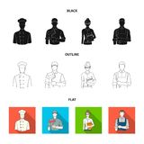 Cook, painter, teacher, locksmith mechanic.Profession set collection icons in black,flat,outline style vector symbol. Stock illustration Stock Image