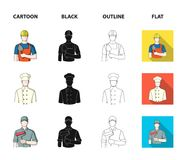 Cook, painter, teacher, locksmith mechanic.Profession set collection icons in cartoon,black,outline,flat style vector. Symbol stock illustration Royalty Free Stock Photos